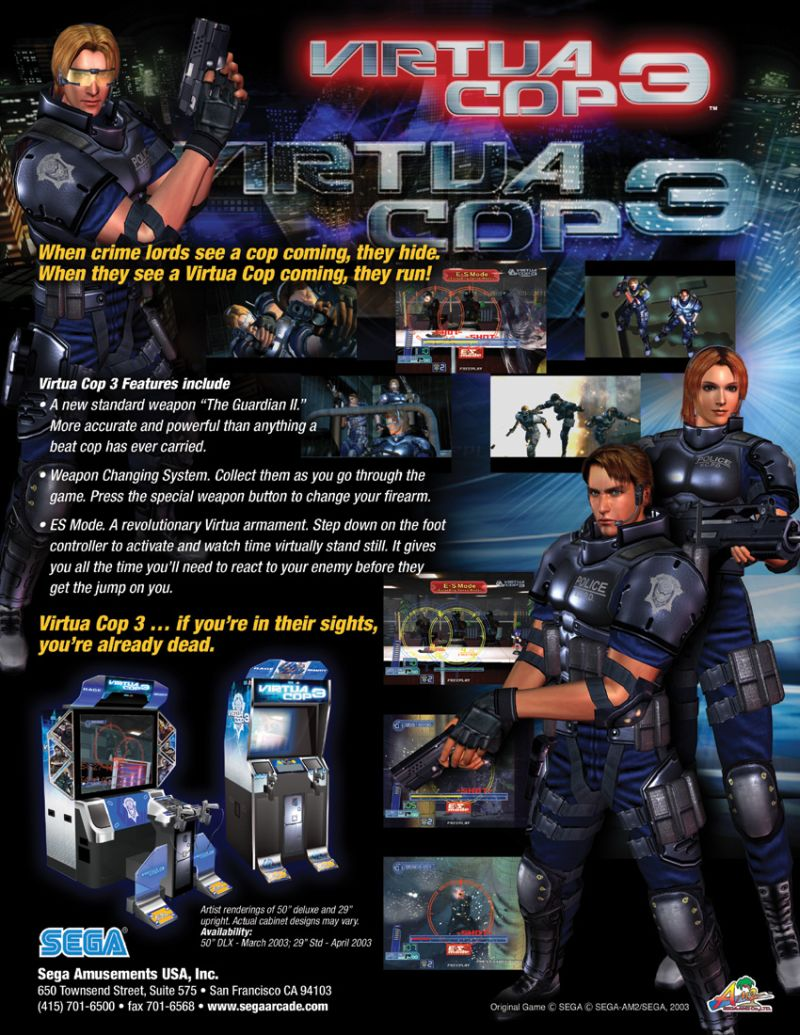 Virtua Cop 3 (2003) Arcade box cover art - MobyGames